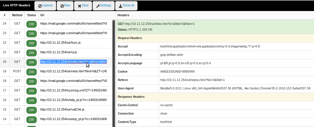 Figura 06 - HTTP Header reboot D-LINK DWR-922